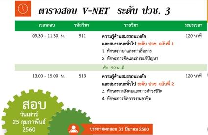 ตารางสอบ V-NET 2